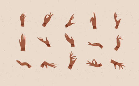 Hands with bracelets and rings in ethnical style in different positions to express feelings and emotions drawing on beige background