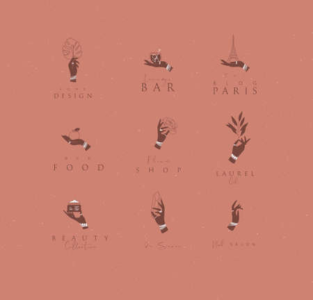 Hand labels with bracelets, rings holding decorative elements with lettering in minimalist style drawing on coral background. 일러스트