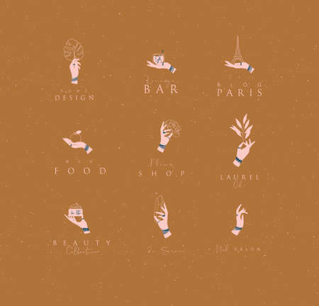 Hand labels with bracelets, rings holding decorative elements with lettering in minimalist style drawing on mustard background.