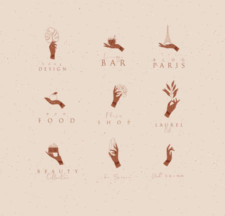 Hand labels with bracelets, rings holding decorative elements with lettering in minimalist style drawing on beige background. 일러스트