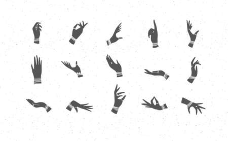 Hands with bracelets and rings in ethnical style in different positions to express feelings and emotions.