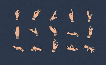 Hands with bracelets and rings in ethnical style in different positions to express feelings and emotions drawing on blue background