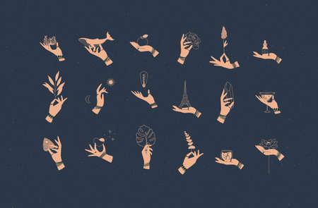 Hands labels with bracelets, rings holding decorative symbols in minimalist style drawing on blue background 일러스트