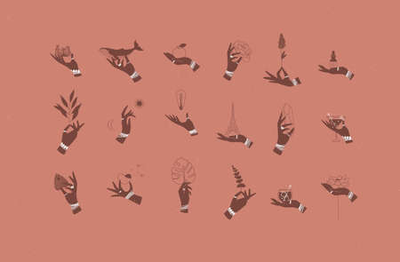 Hands labels with bracelets, rings holding decorative symbols in minimalist style drawing on coral background