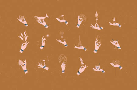 Hands labels with bracelets, rings holding decorative symbols in minimalist style drawing on mustard background