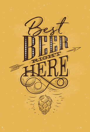 Poster lettering save water drink beer drawing on mustard background