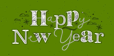 Christmas poster lettering happy new year drawing in graphic style on green background