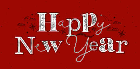 Christmas poster lettering happy new year drawing in graphic style on red background Иллюстрация