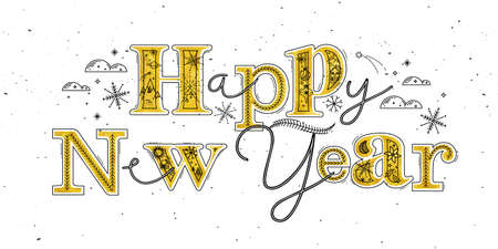 Christmas poster lettering happy new year drawing in graphic style on white background