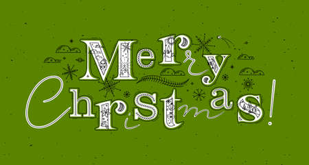 Poster lettering merry christmas drawing in graphic style on green background Иллюстрация