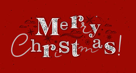 Poster lettering merry christmas drawing in graphic style on red background