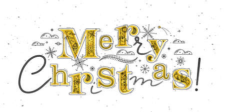 Poster lettering merry christmas drawing in graphic style on white background Иллюстрация