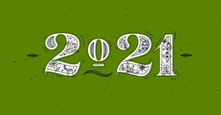 Christmas poster lettering 2021 drawing in graphic style on green background Иллюстрация