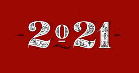 Christmas poster lettering 2021 drawing in graphic style on red background
