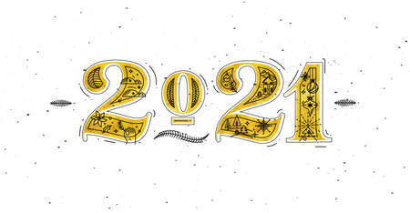 Christmas poster lettering 2021 drawing in graphic style on white background