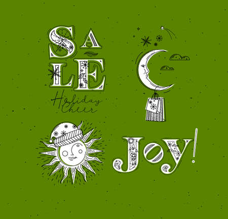 Merry Christmas elements lettering sale, holiday cheer, joy and illustrated sun with santas hat and moon with gift drawing in graphic style on green background Иллюстрация