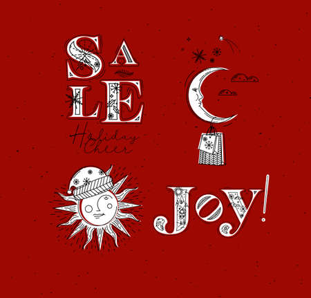Merry Christmas elements lettering sale, holiday cheer, joy and illustrated sun with santas hat and moon with gift drawing in graphic style on red background