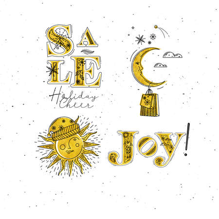 Merry Christmas elements lettering sale, holiday cheer, joy and illustrated sun with santas hat and moon with gift drawing in graphic style on white background