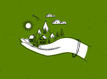 Christmas poster with hand, mountains, sun, cloud, home, trees drawing in graphic style on green background