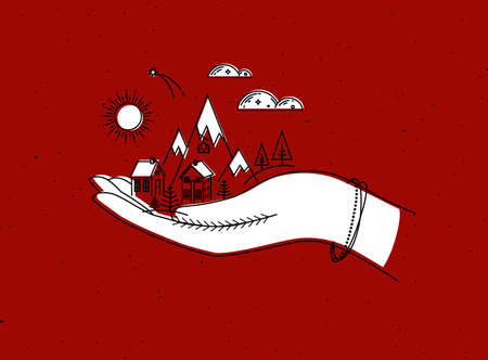 Christmas poster with hand, mountains, sun, cloud, home, trees drawing in graphic style on red background