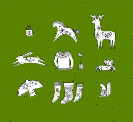 Merry christmas symbols cup, horse, deer, rabbit, hat, glove, pullover, car, tree, bird, squirrel, socks drawing in graphic style on green background
