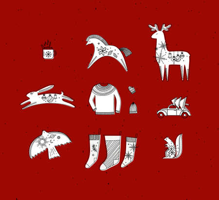Merry christmas symbols cup, horse, deer, rabbit, hat, glove, pullover, car, tree, bird, squirrel, socks drawing in graphic style on red background Иллюстрация