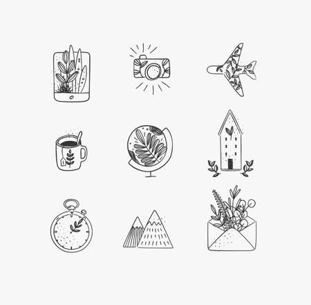 Set of travel nature icons in hand made line style tablet, camera, plane, tea cup, globe, house building, clock, mountains, envelope drawing on white background