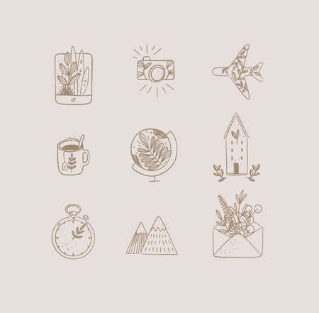 Set of travel nature icons in hand made line style tablet, camera, plane, tea cup, globe, house building, clock, mountains, envelope drawing on beige background Иллюстрация