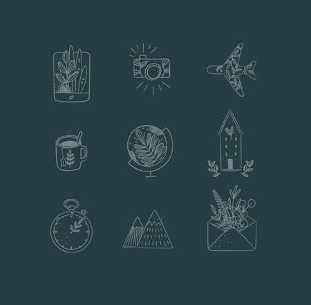 Set of travel nature icons in hand made line style tablet, camera, plane, tea cup, globe, house building, clock, mountains, envelope drawing on dark blue background