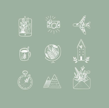 Set of travel nature icons in hand made line style tablet, camera, plane, tea cup, globe, house building, clock, mountains, envelope drawing on green background