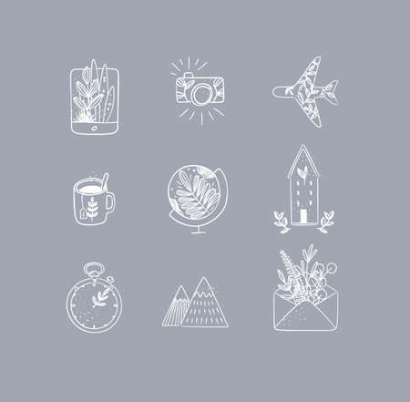 Set of travel nature icons in hand made line style tablet, camera, plane, tea cup, globe, house building, clock, mountains, envelope drawing on grey background