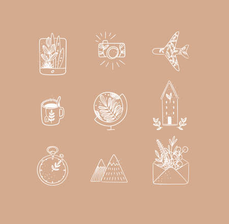 Set of travel nature icons in hand made line style tablet, camera, plane, tea cup, globe, house building, clock, mountains, envelope drawing on peach background