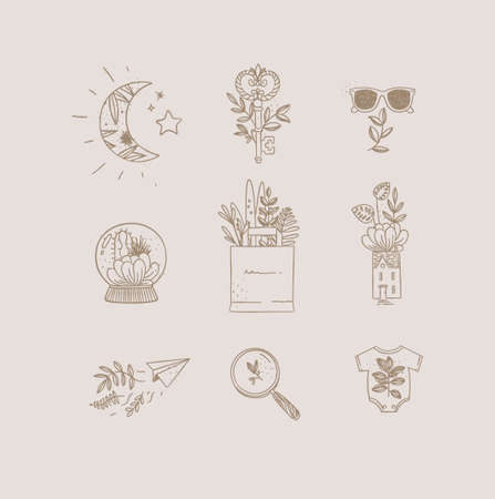 Set of nature icons in hand made line style moon, key, glasses, glass ball, grocery bag, house, paper plane, magnifier, baby clothes drawing on white background
