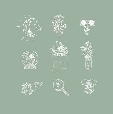 Set of nature icons in hand made line style moon, key, glasses, glass ball, grocery bag, house, paper plane, magnifier, baby clothes drawing on green background Иллюстрация