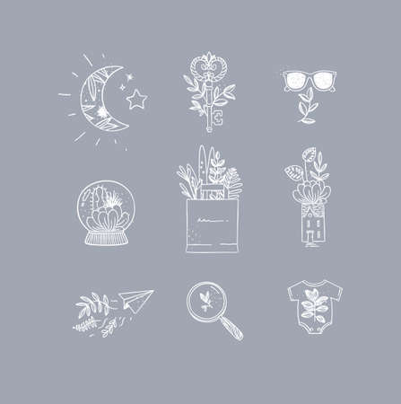 Set of nature icons in hand made line style moon, key, glasses, glass ball, grocery bag, house, paper plane, magnifier, baby clothes drawing on grey background Иллюстрация