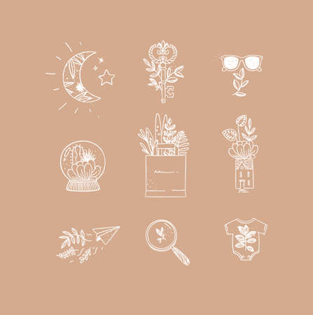 Set of nature icons in hand made line style moon, key, glasses, glass ball, grocery bag, house, paper plane, magnifier, baby clothes drawing on peach background Иллюстрация