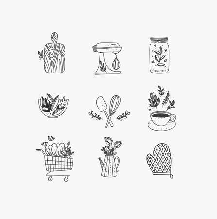 Set of floral kitchen icons in hand made line style cutting board, mixer, jar with lid, salad bowl, dough whisk, coffee cup, grocery cart, water jug for plants, oven mitts drawing on white background