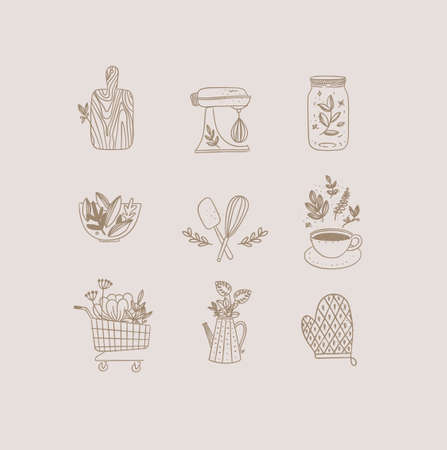 Set of floral kitchen icons in hand made line style cutting board, mixer, jar with lid, salad bowl, dough whisk, coffee cup, grocery cart, water jug for plants, oven mitts drawing on beige background