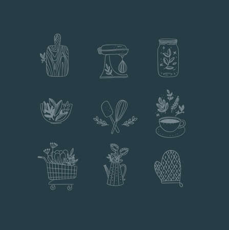 Set of floral kitchen icons in hand made line style cutting board, mixer, jar with lid, salad bowl, dough whisk, coffee cup, grocery cart, water jug for plants, oven mitts drawing on dark background