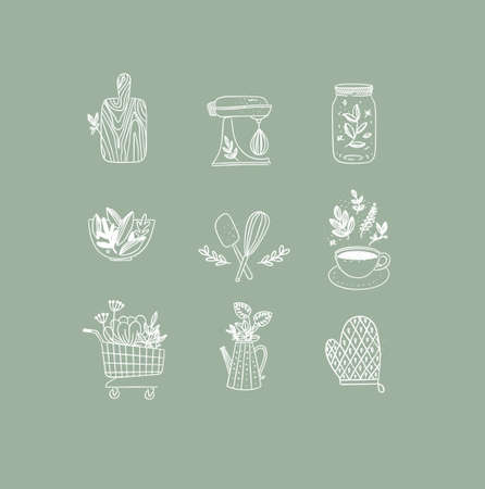 Set of floral kitchen icons in hand made line style cutting board, mixer, jar with lid, salad bowl, dough whisk, coffee cup, grocery cart, water jug for plants, oven mitts drawing on green background