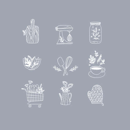 Set of floral kitchen icons in hand made line style cutting board, mixer, jar with lid, salad bowl, dough whisk, coffee cup, grocery cart, water jug for plants, oven mitts drawing on grey background