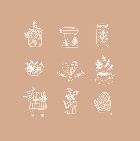 Set of floral kitchen icons in hand made line style cutting board, mixer, jar with lid, salad bowl, dough whisk, coffee cup, grocery cart, water jug for plants, oven mitts drawing on peach background