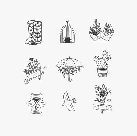 Set of floral garden icons in hand made line style boots, barn, origami, garden cart, umbrella, cactus, hourglass, bird, plaster drawing on white background