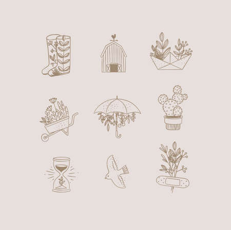 Set of floral garden icons in hand made line style boots, barn, origami, garden cart, umbrella, cactus, hourglass, bird, plaster drawing on beige background