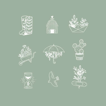 Set of floral garden icons in hand made line style boots, barn, origami, garden cart, umbrella, cactus, hourglass, bird, plaster drawing on green background