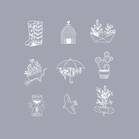 Set of floral garden icons in hand made line style boots, barn, origami, garden cart, umbrella, cactus, hourglass, bird, plaster drawing on grey background