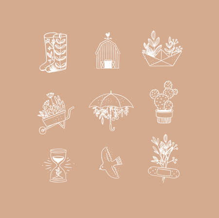 Set of floral garden icons in hand made line style boots, barn, origami, garden cart, umbrella, cactus, hourglass, bird, plaster drawing on peach background