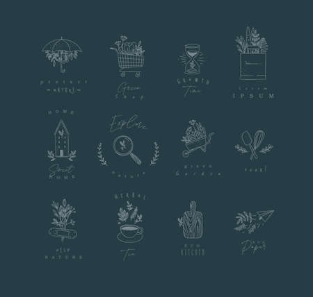 Set of natural labels protect, shop, growth time, sweet home, explore, green garden, cook, herbal tea, eco kitchen drawing on dark blue background Иллюстрация