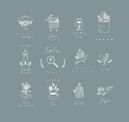 Set of natural labels protect, shop, growth time, sweet home, explore, green garden, cook, herbal tea, eco kitchen drawing on grey background Иллюстрация