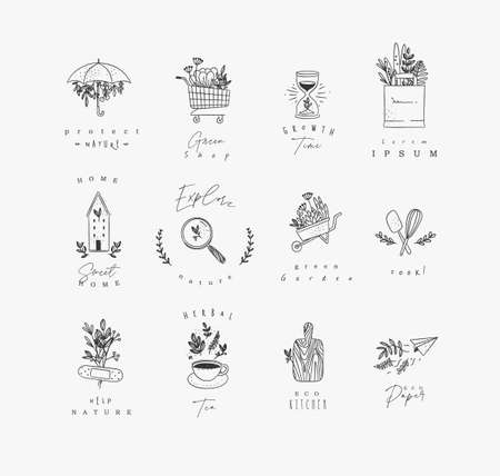 Set of natural labels protect, shop, growth time, sweet home, explore, green garden, cook, herbal tea, eco kitchen drawing on white background